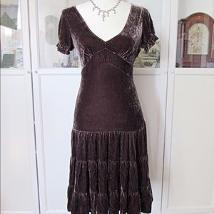 BCBGMAXAZRIA velvety Brown cap sleeve Maxi dress